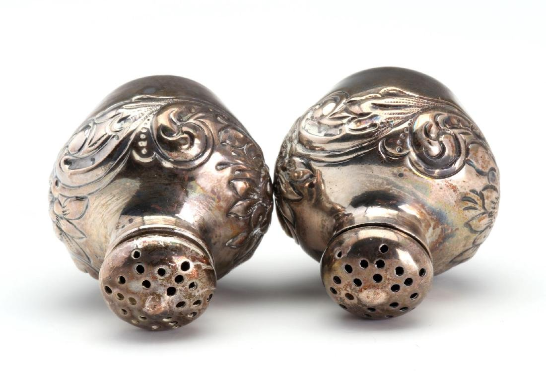 GEO C. SHREVE STERLING SILVER REPOUSSE SHAKERS - 5
