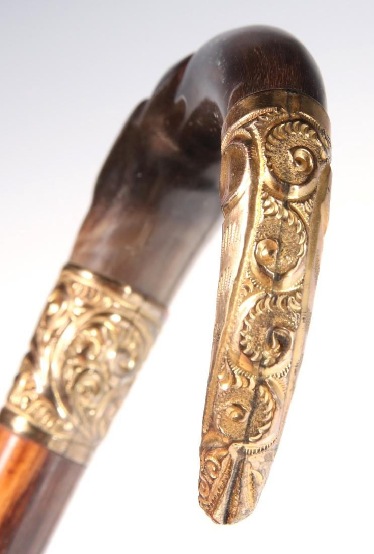 THREE 19TH C. GOLD FILLED AND STERLING CANE HANDLES - 4