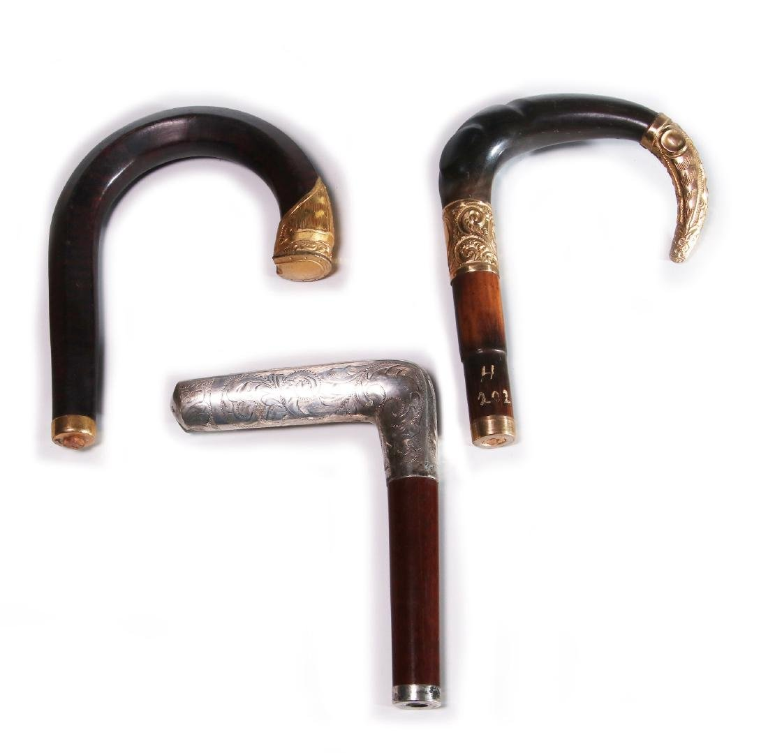 THREE 19TH C. GOLD FILLED AND STERLING CANE HANDLES - 5