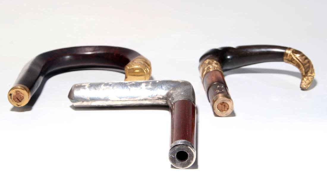 THREE 19TH C. GOLD FILLED AND STERLING CANE HANDLES - 6