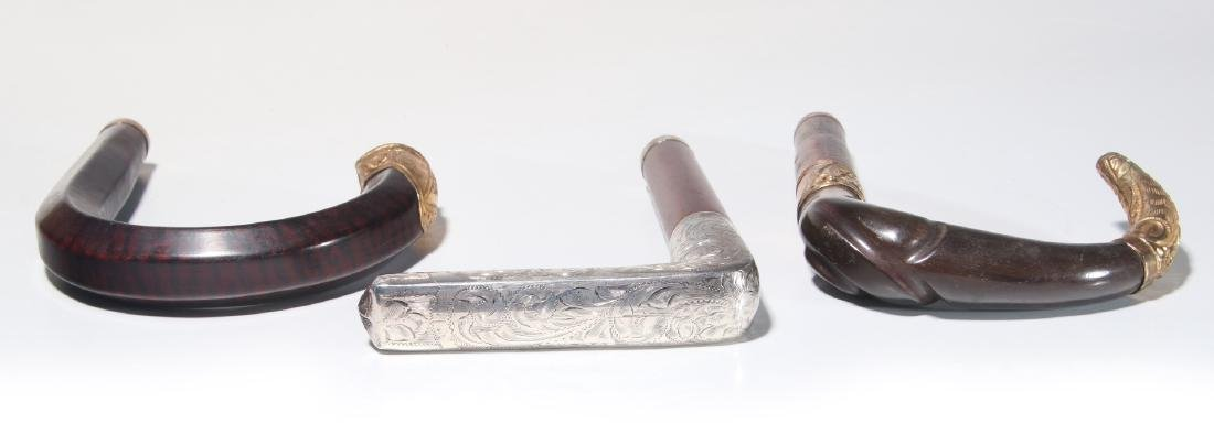THREE 19TH C. GOLD FILLED AND STERLING CANE HANDLES - 7