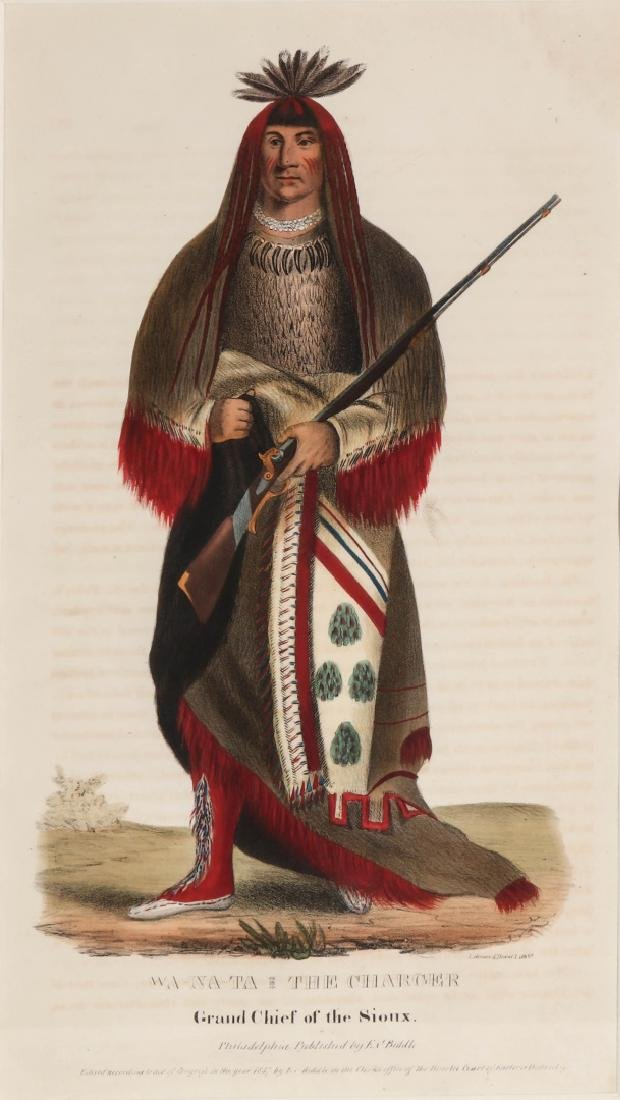 WA-NA-TA GRAND CHIEF OF THE SIOUX LITHO CIRCA 1840