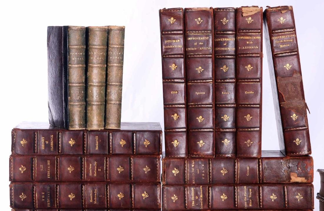 LOT OF 36 ANTIQUE LEATHER BOOKS - 2