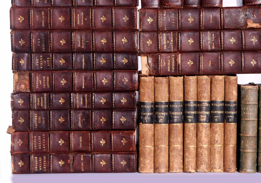 LOT OF 36 ANTIQUE LEATHER BOOKS - 3