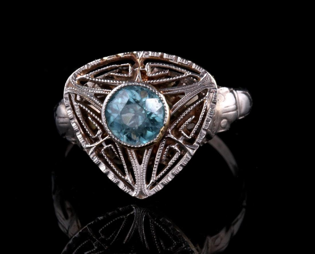 PLATINUM FILIGREE RING WITH BLUE GEMSTONE - 2