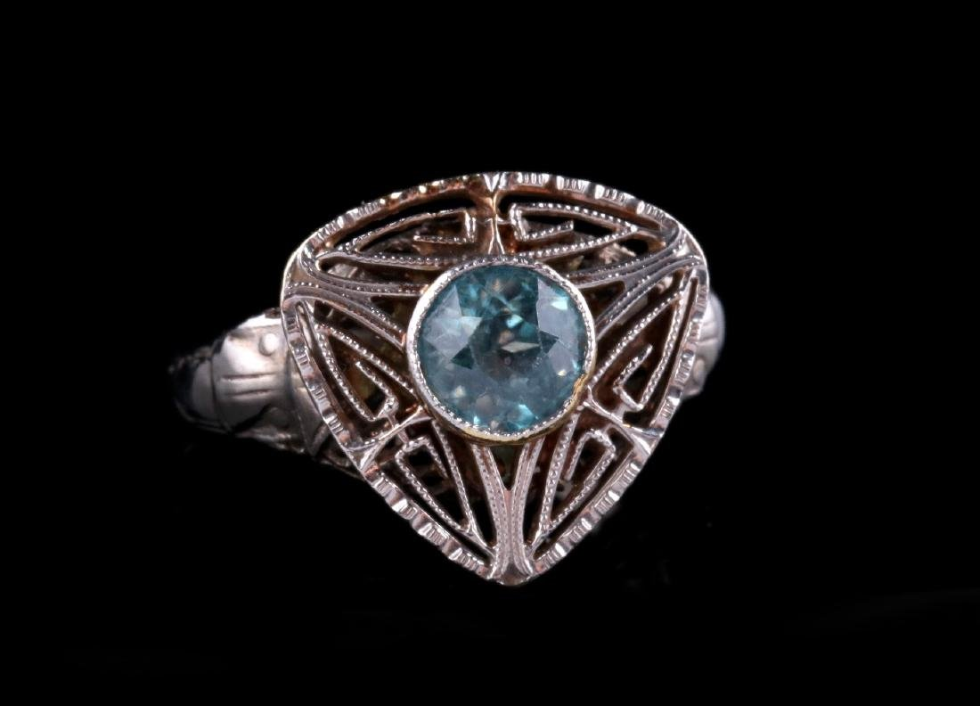 PLATINUM FILIGREE RING WITH BLUE GEMSTONE - 3