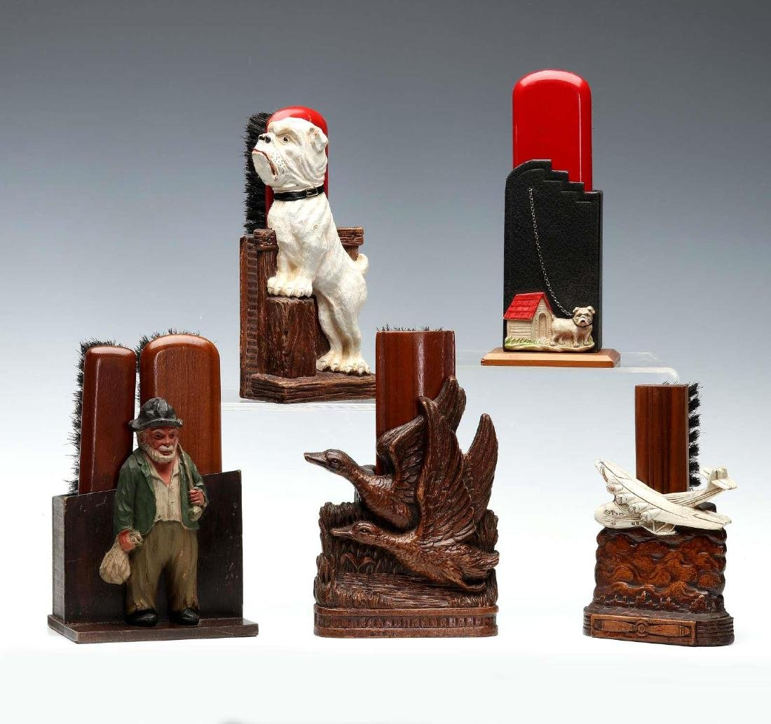 FIVE SYROCO TYPE FIGURAL BRUSH HOLDERS