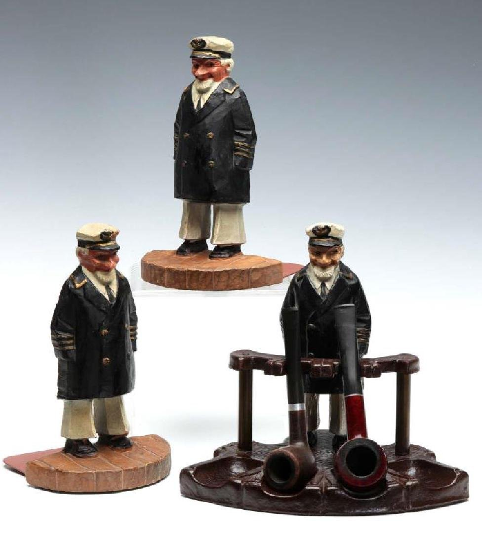 SYROCO WOOD SEA CAPTAIN BOOKENDS AND PIPE HOLDER