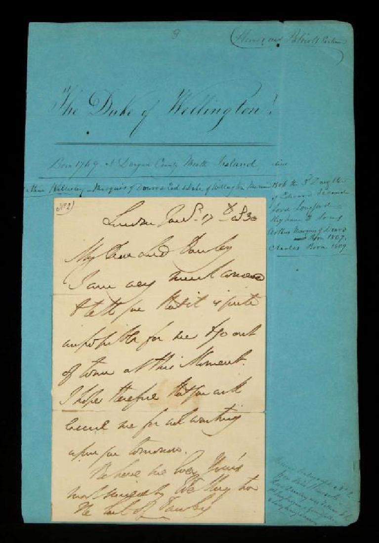 1836 HANDWRITTEN LETTER BY THE DUKE OF WELLINGTON