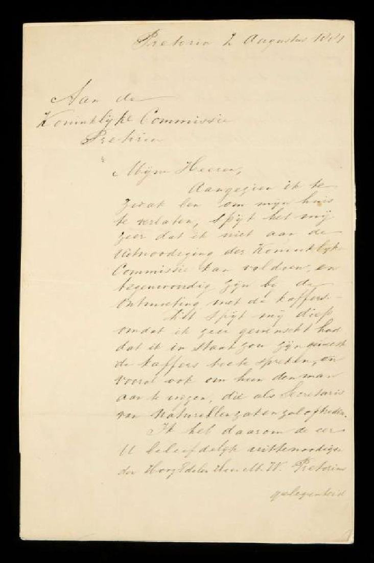 SIGNED LETTER BY PAUL KRUEGER OF SOUTH AFRICA