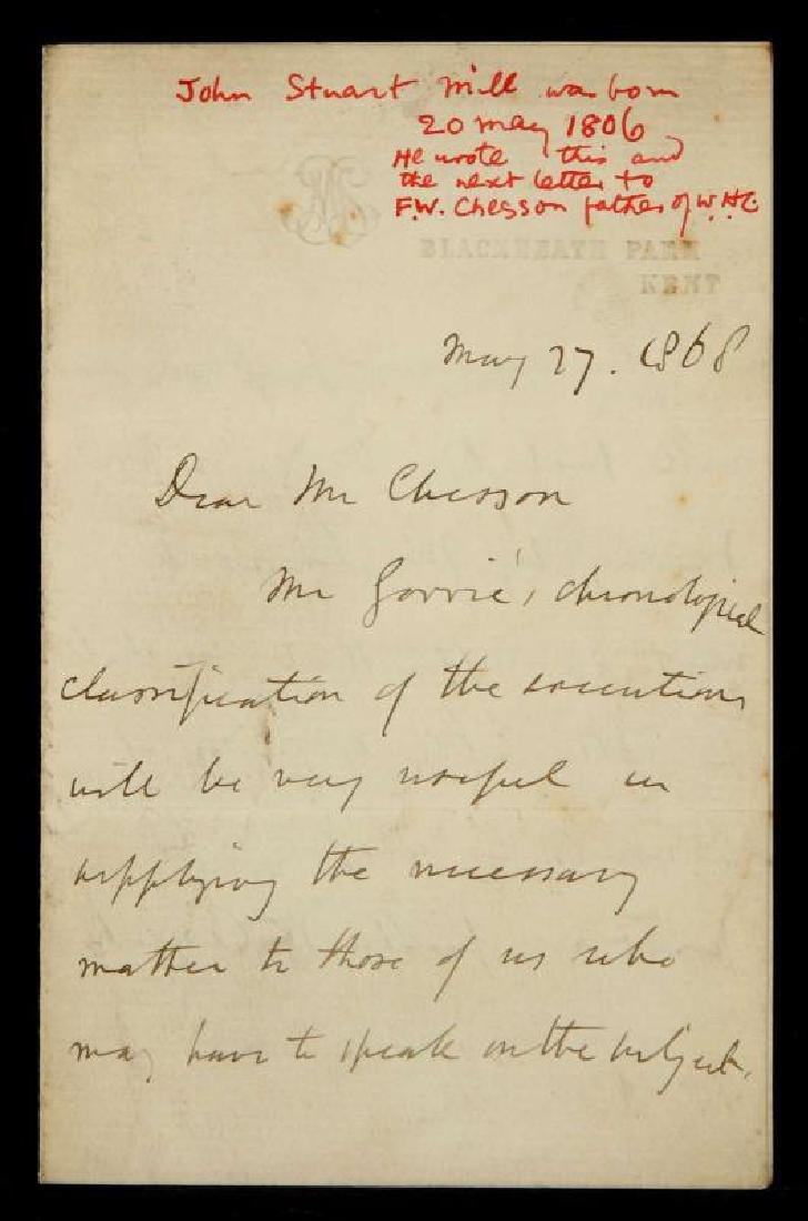 1868 HANDWRITTEN LETTER BY JOHN STUART MILL
