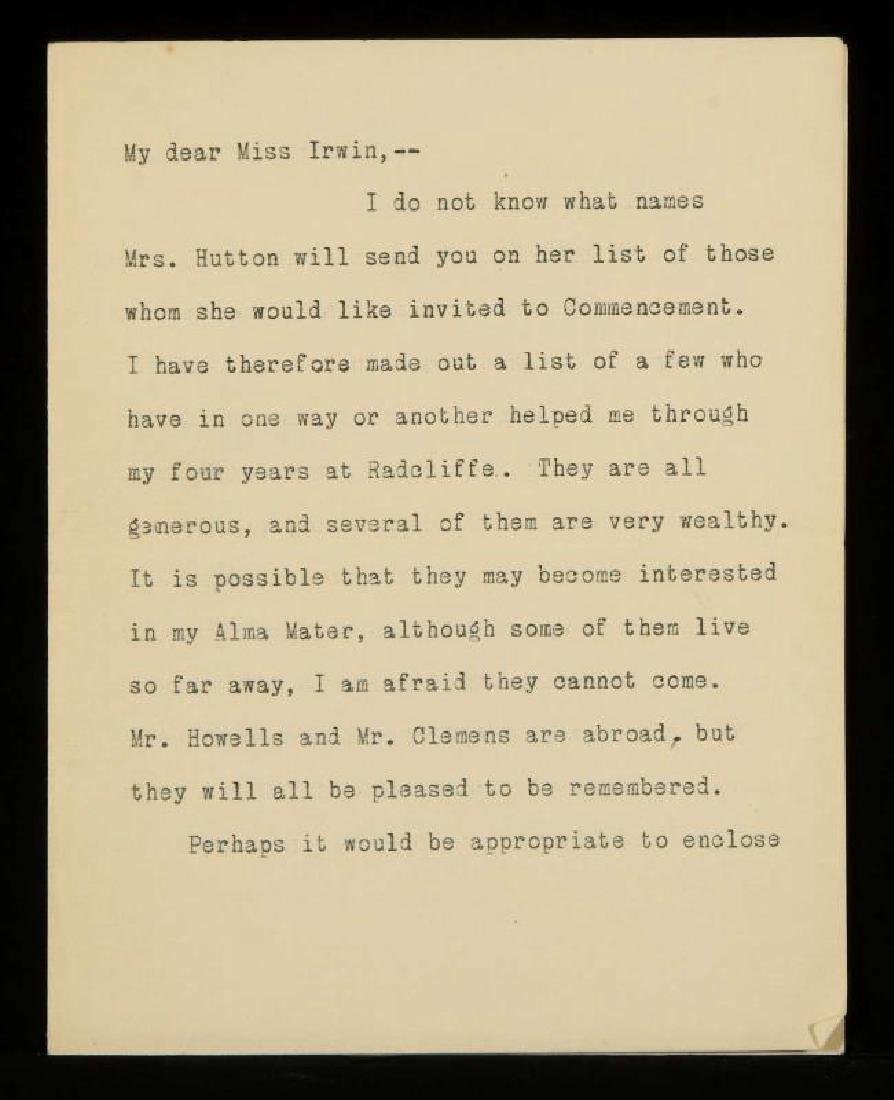 TYPED AND SIGNED LETTER BY HELEN KELLER