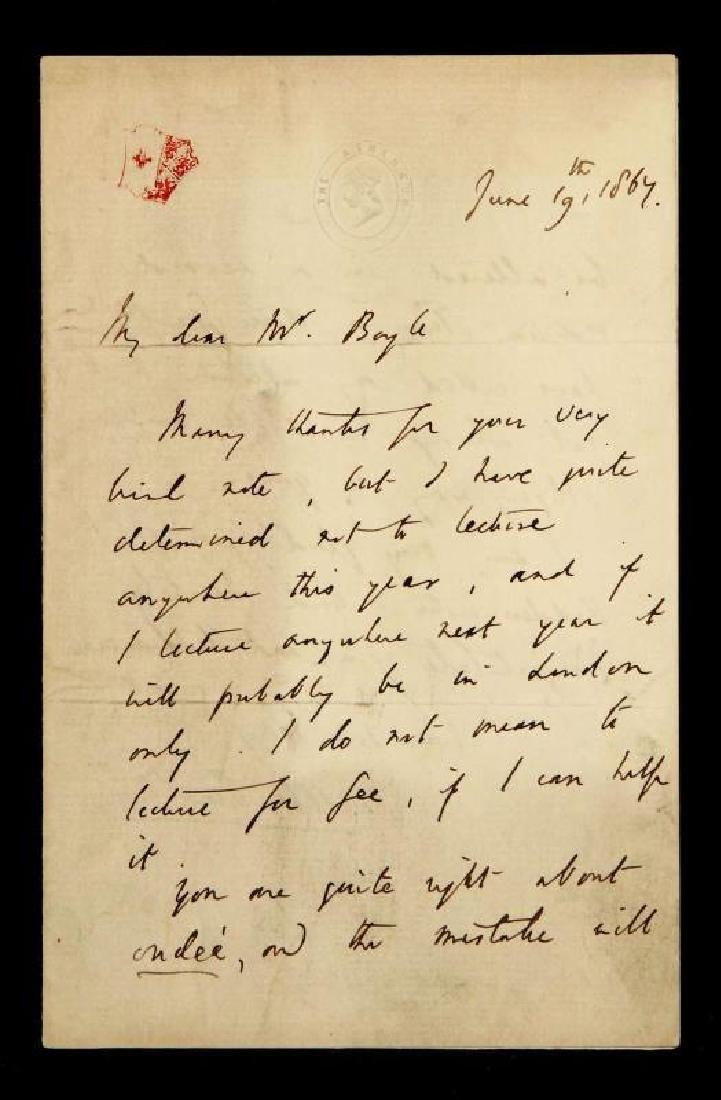 1864 HANDWRITTEN LETTER BY MATTHEW ARNOLD
