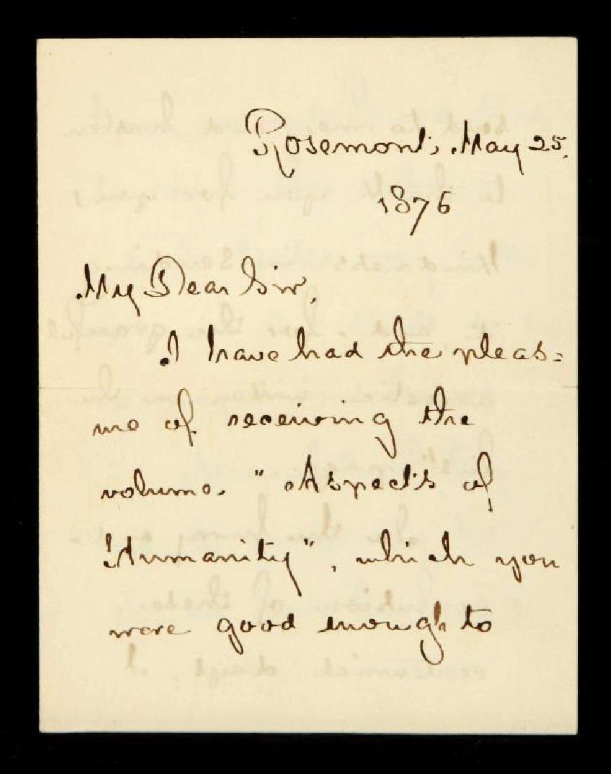 1876 HANDWRITTEN LETTER BY HENRY W. LONGFELLOW