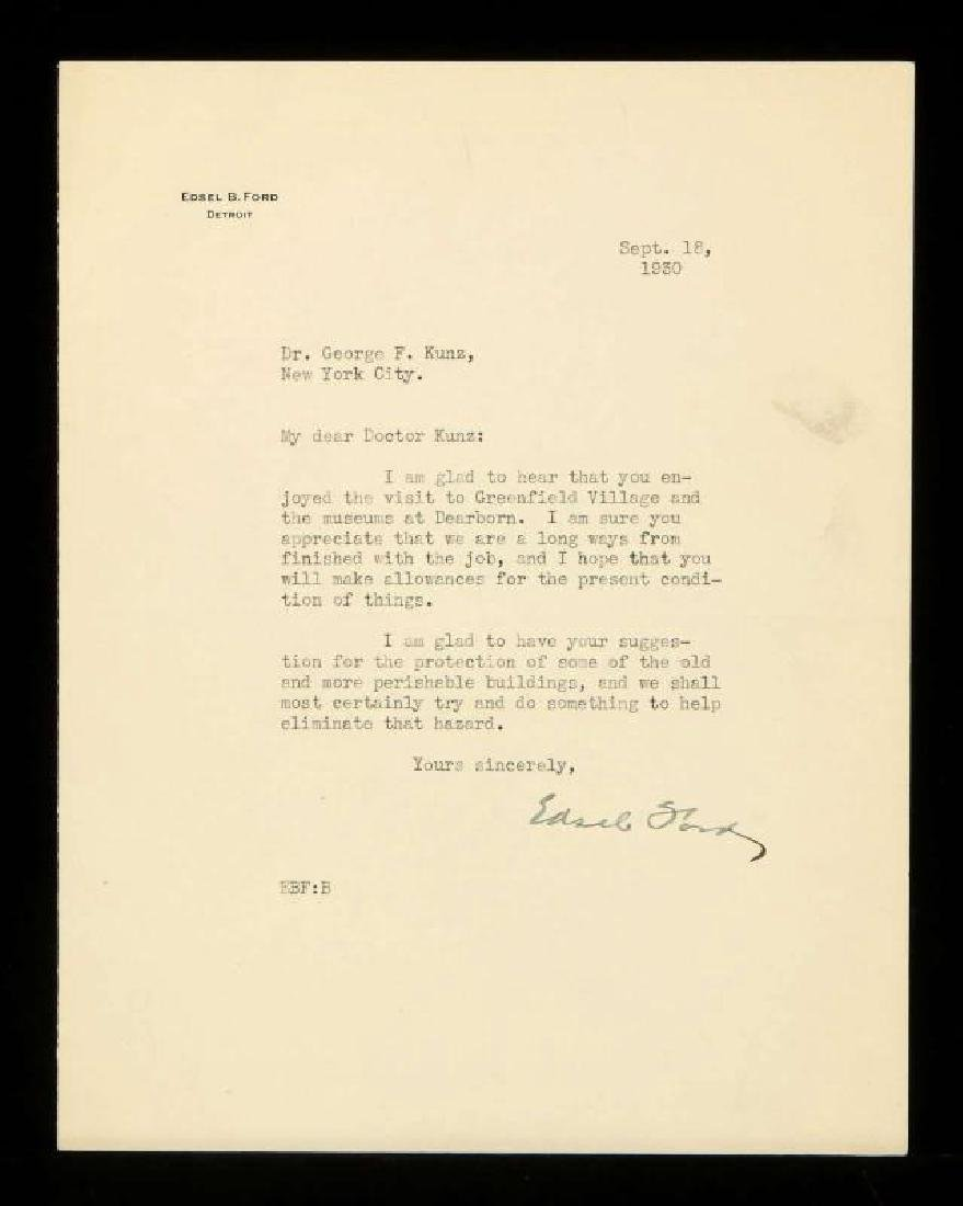 SIGNED TYPED LETTER BY EDSEL FORD