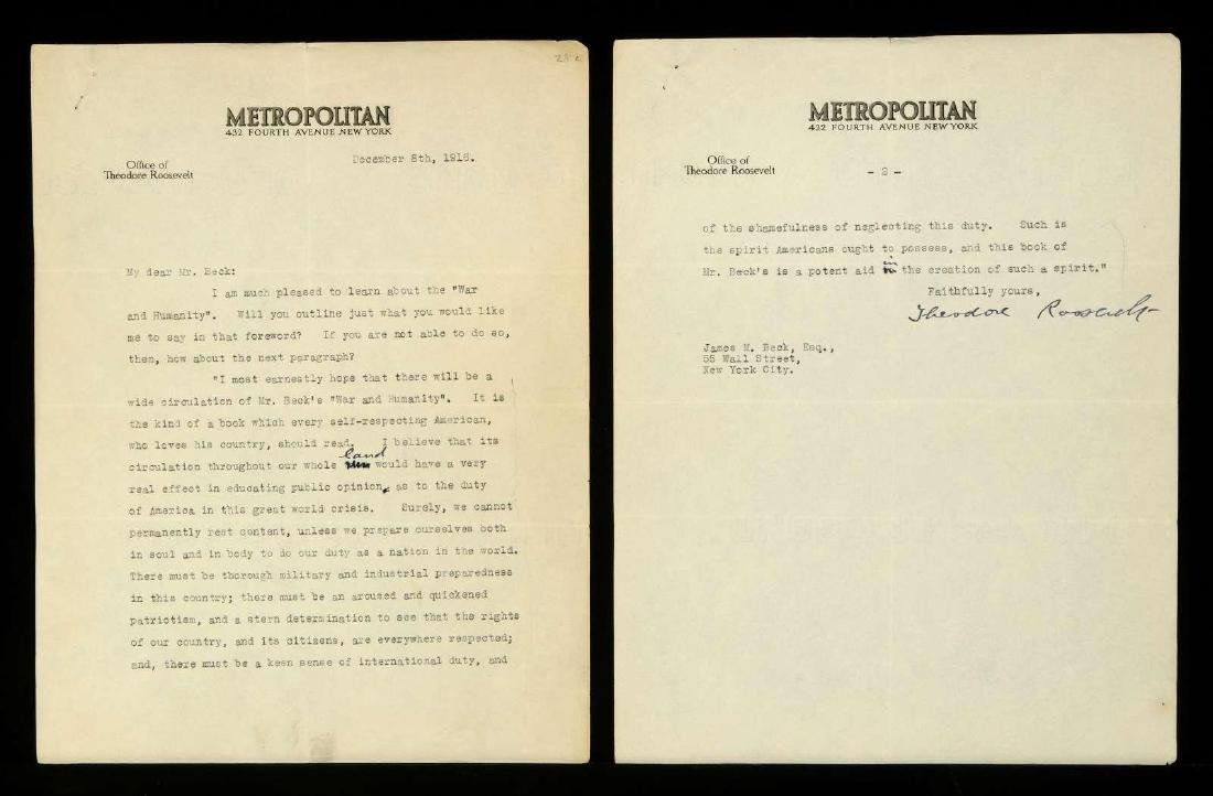 SIGNED TYPED LETTER BY THEODORE ROOSEVELT