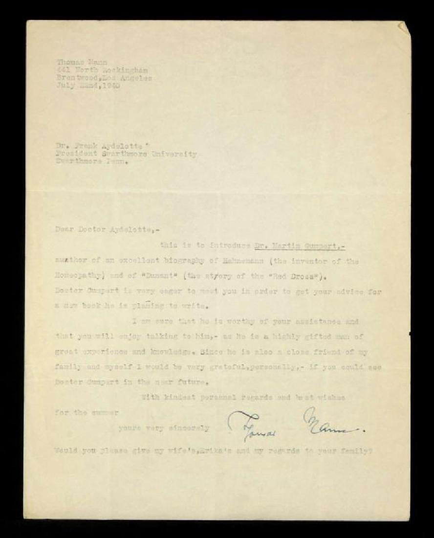 LETTER SIGNED BY THOMAS MANN