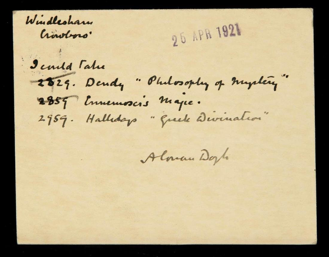 HANDWRITTEN POSTCARD BY ARTHUR CONAN DOYLE