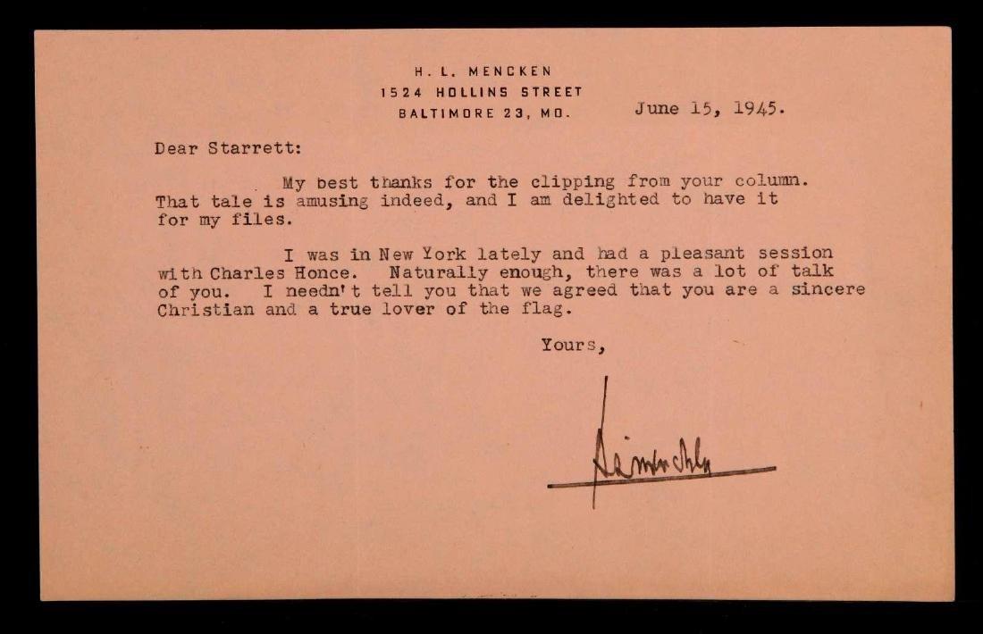LETTER SIGNED BY H.L. MENCKEN