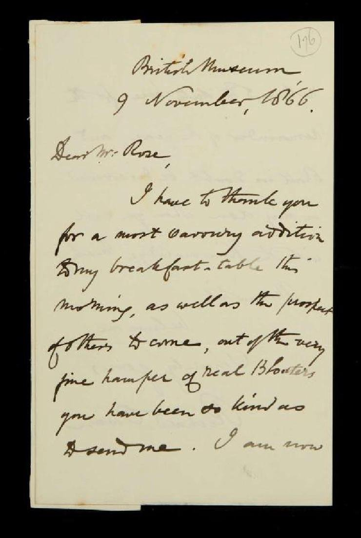 HANDWRITTEN LETTER BY RICHARD OWEN