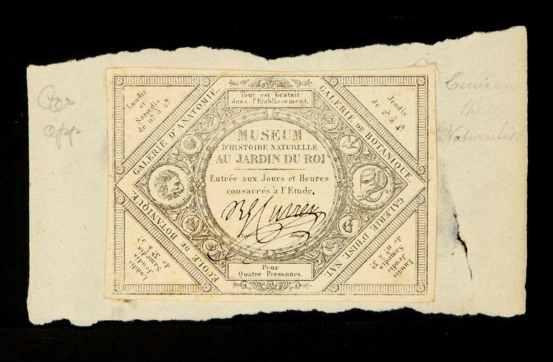 SIGNED TICKET OR PASS BY GEORGES CUVIER