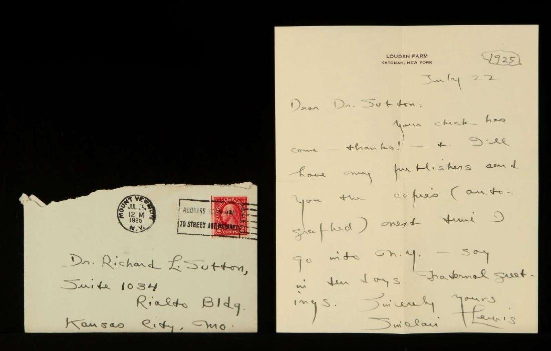 HANDWRITTEN LETTER BY SINCLAIR LEWIS