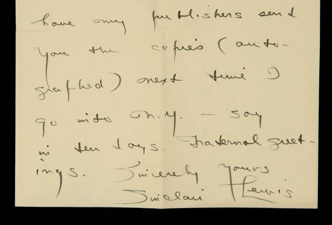 HANDWRITTEN LETTER BY SINCLAIR LEWIS - 4