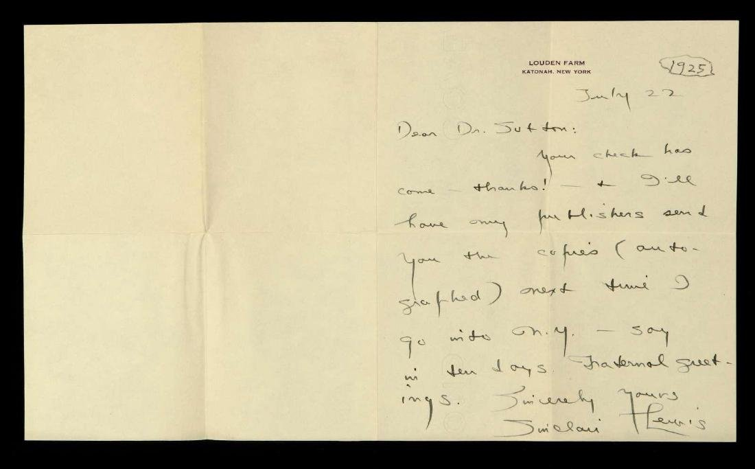 HANDWRITTEN LETTER BY SINCLAIR LEWIS - 7