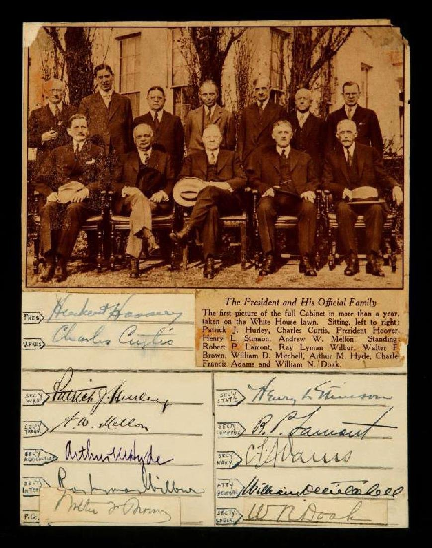 SIGNATURES OF PRES. HERBERT HOOVER AND CABINET