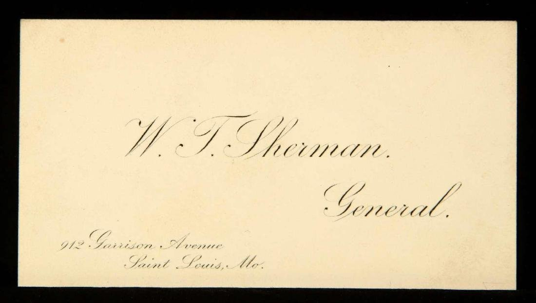 CALLING CARD AND SIGNATURE OF WILLIAM T. SHERMAN