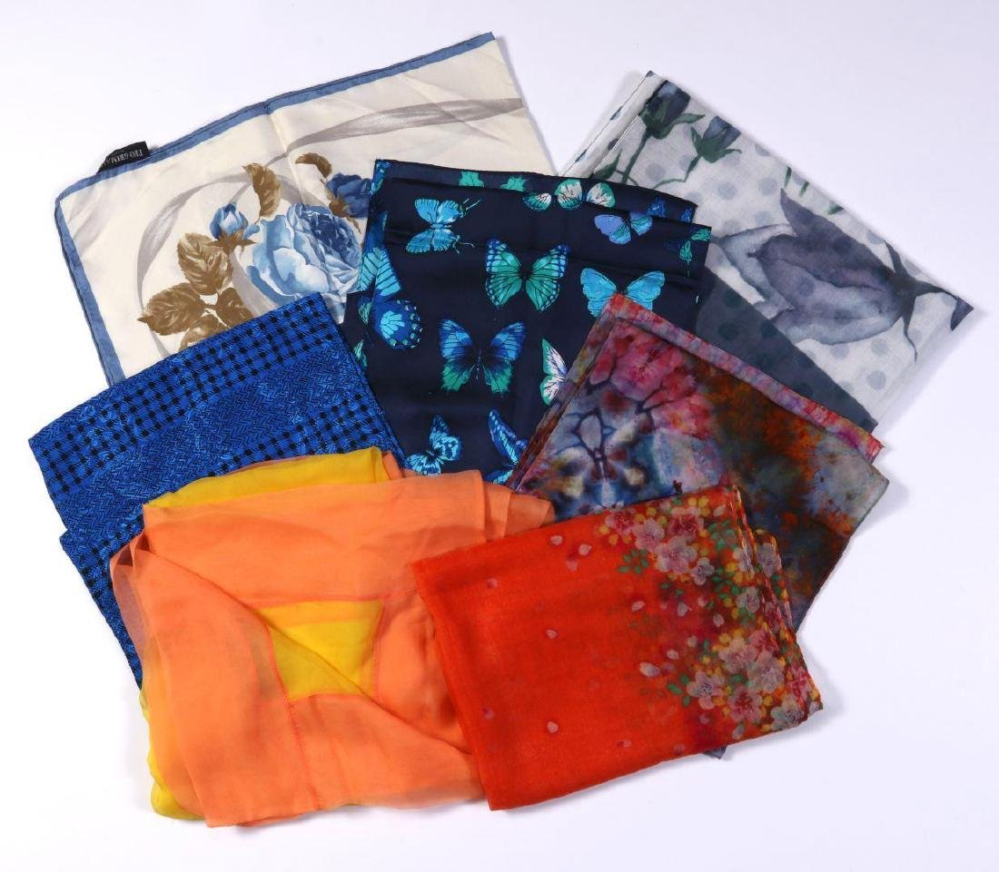 A COLLECTION OF SILK AND OTHER DESIGNER SCARVES