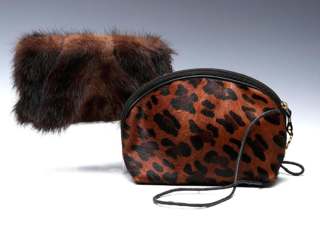PAOLA DEL LUNGO DESIGNER MINK PURSE, PLUS ANOTHER - 3