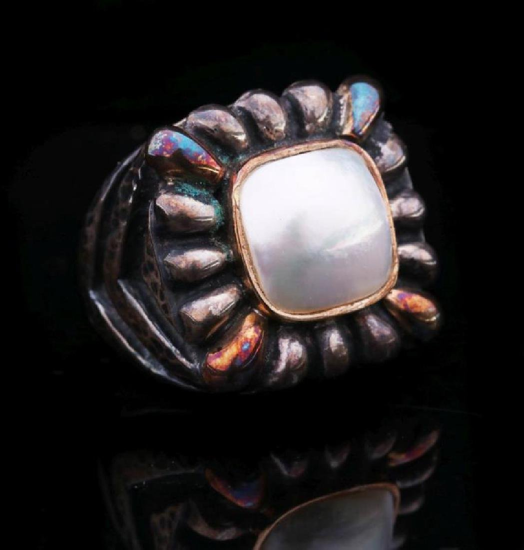 DIAN MALOUF STERLING AND 14K GOLD PEARL RING