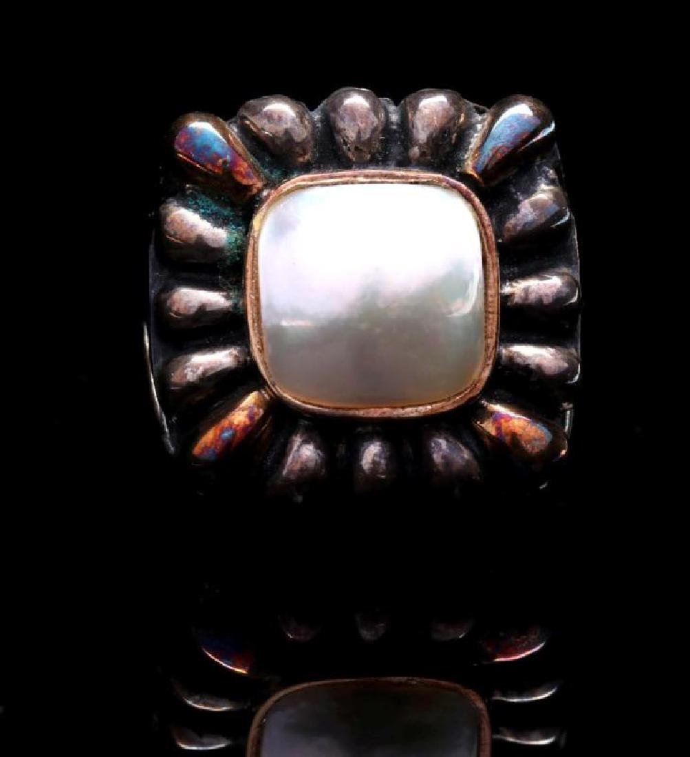 DIAN MALOUF STERLING AND 14K GOLD PEARL RING - 2
