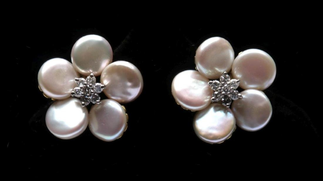 MAZ 18K GOLD, PEARL AND DIAMOND EARRINGS