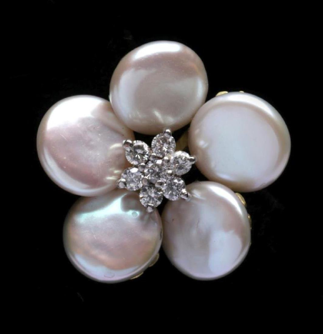 MAZ 18K GOLD, PEARL AND DIAMOND EARRINGS - 2