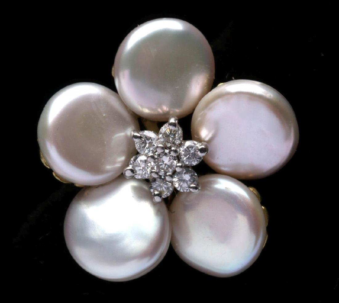MAZ 18K GOLD, PEARL AND DIAMOND EARRINGS - 3