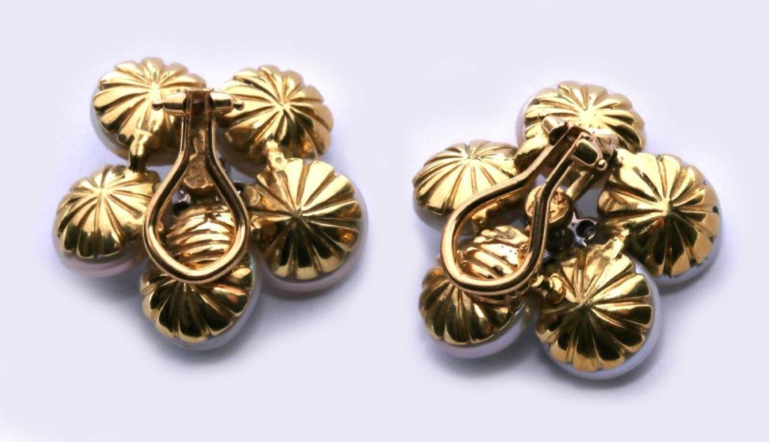 MAZ 18K GOLD, PEARL AND DIAMOND EARRINGS - 4