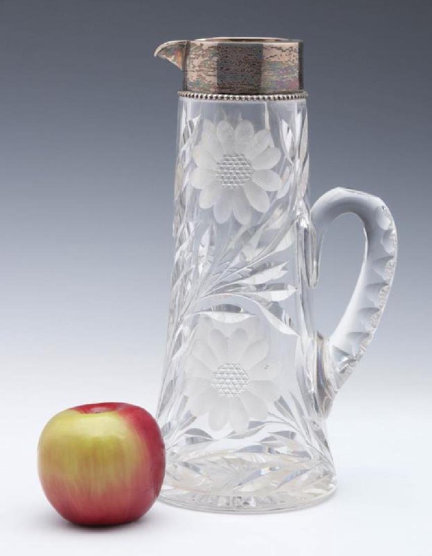 A CIRCA 1900 CUT GLASS TANKARD WITH STERLING - 2
