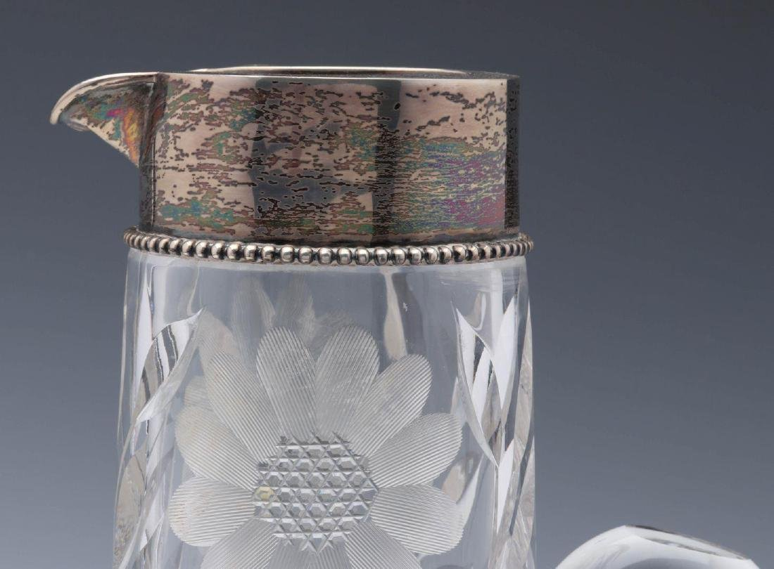 A CIRCA 1900 CUT GLASS TANKARD WITH STERLING - 3