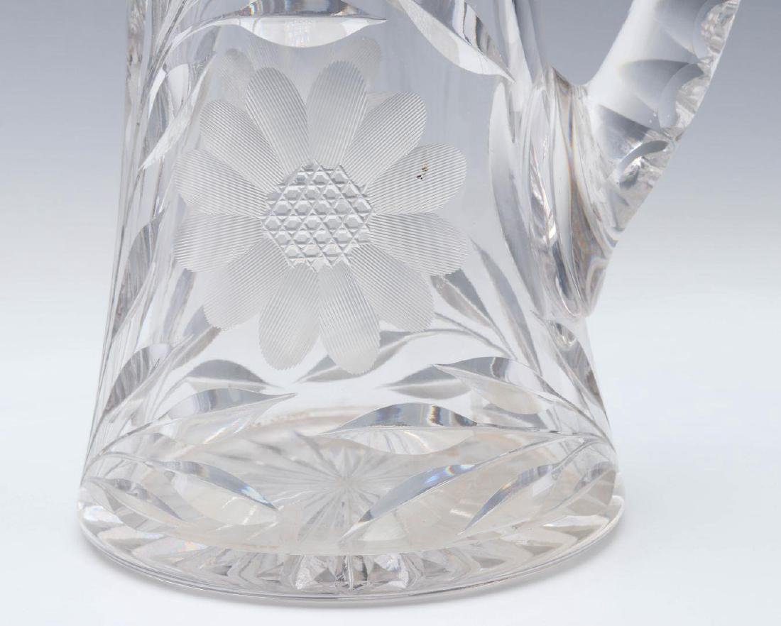 A CIRCA 1900 CUT GLASS TANKARD WITH STERLING - 5
