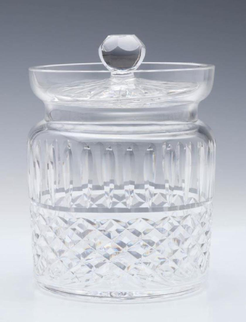 A CUT IRISH CRYSTAL CRACKER JAR SIGNED WATERFORD