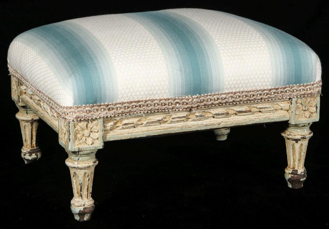 A FRENCH LOUIS XVI STYLE FOOT STOOL