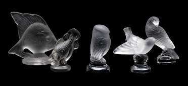LALIQUE FRENCH CRYSTAL BIRD AND FISH STATUETTES