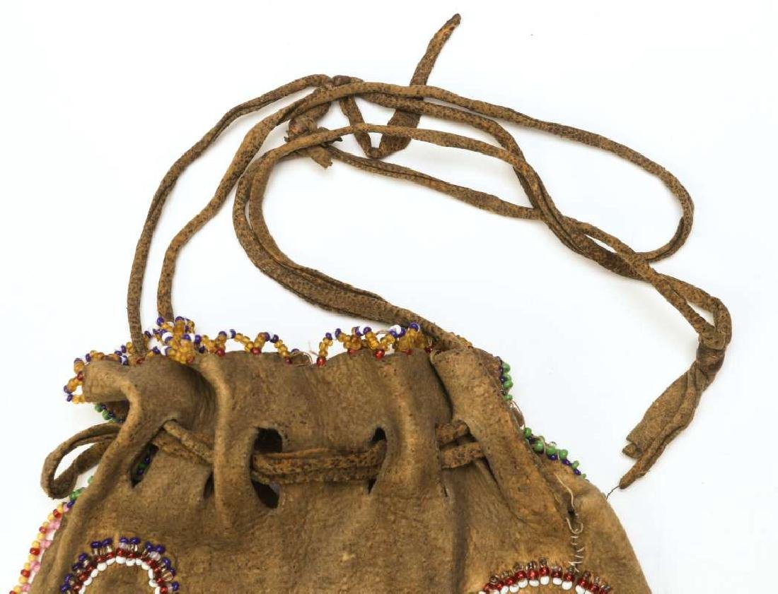 A CIRCA 1900 APACHE PARTIALLY BEADED BAG - 2