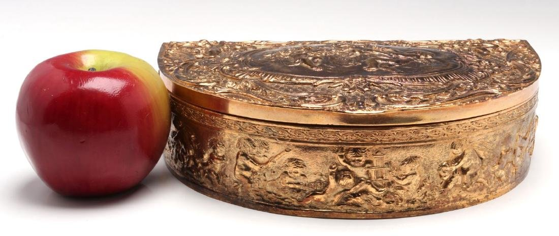 A FRENCH DEMILUNE FORM GILT SILVER PLATED BOX - 2