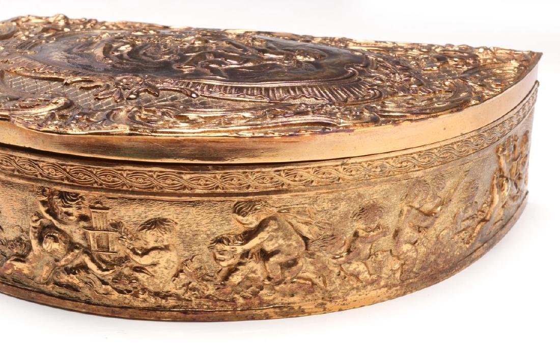 A FRENCH DEMILUNE FORM GILT SILVER PLATED BOX - 4