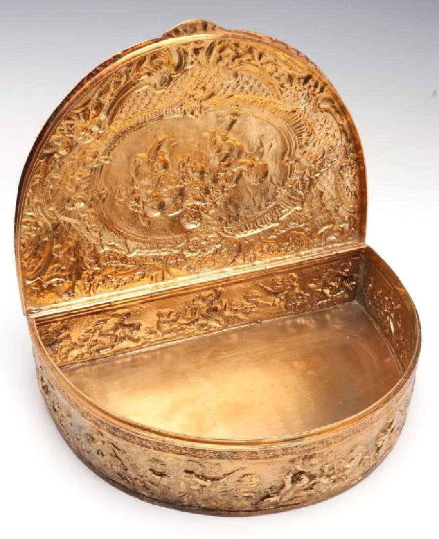 A FRENCH DEMILUNE FORM GILT SILVER PLATED BOX - 6