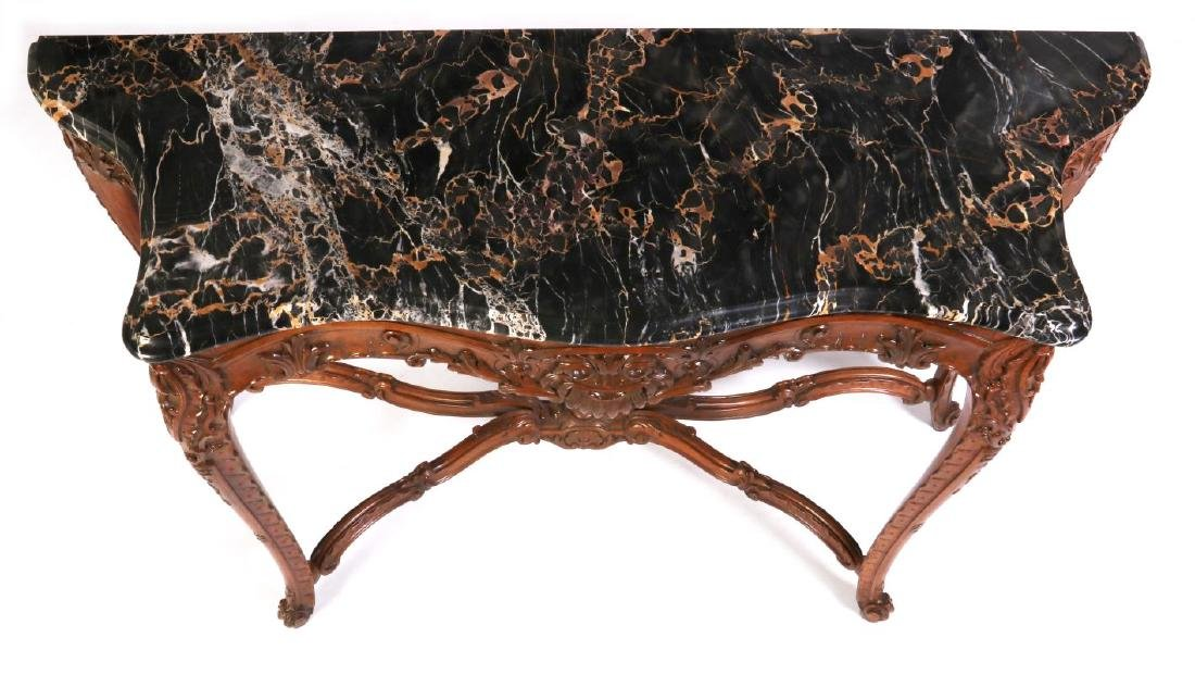 A LOUIS XV STYLE HIGHLY CARVED WALNUT CONSOLE - 2