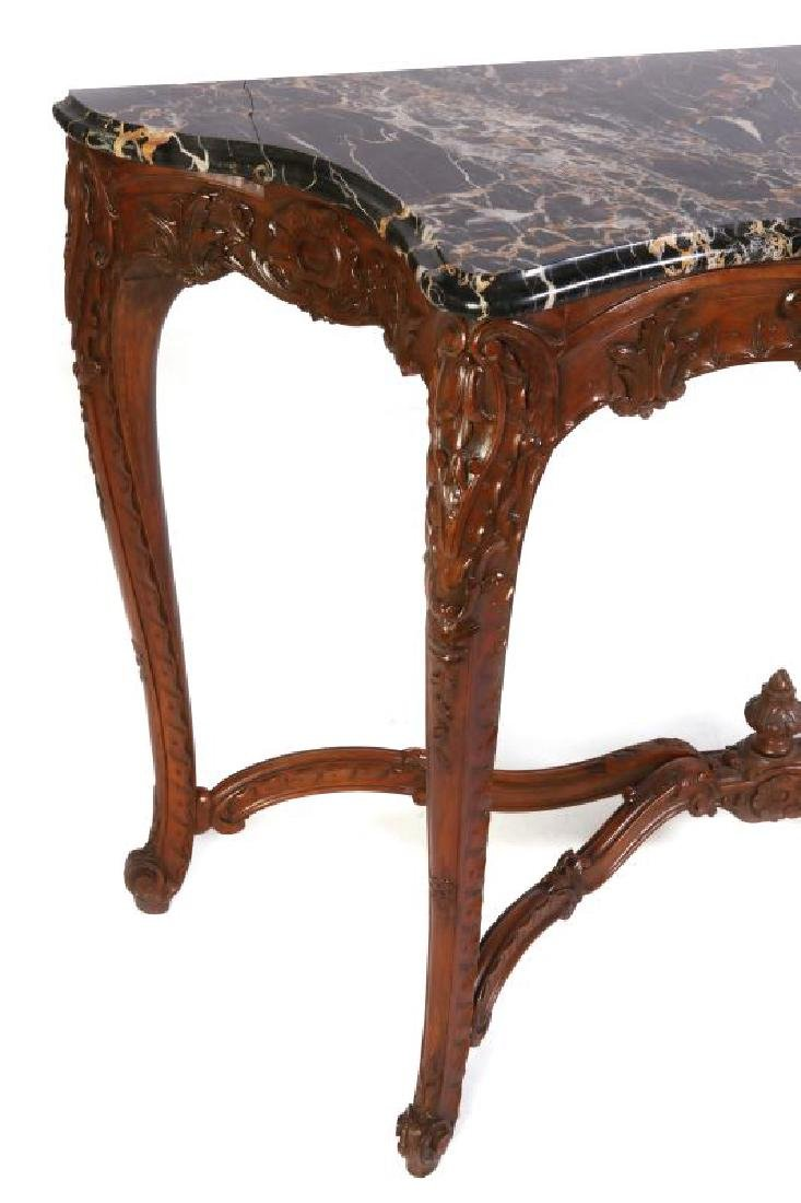 A LOUIS XV STYLE HIGHLY CARVED WALNUT CONSOLE - 7